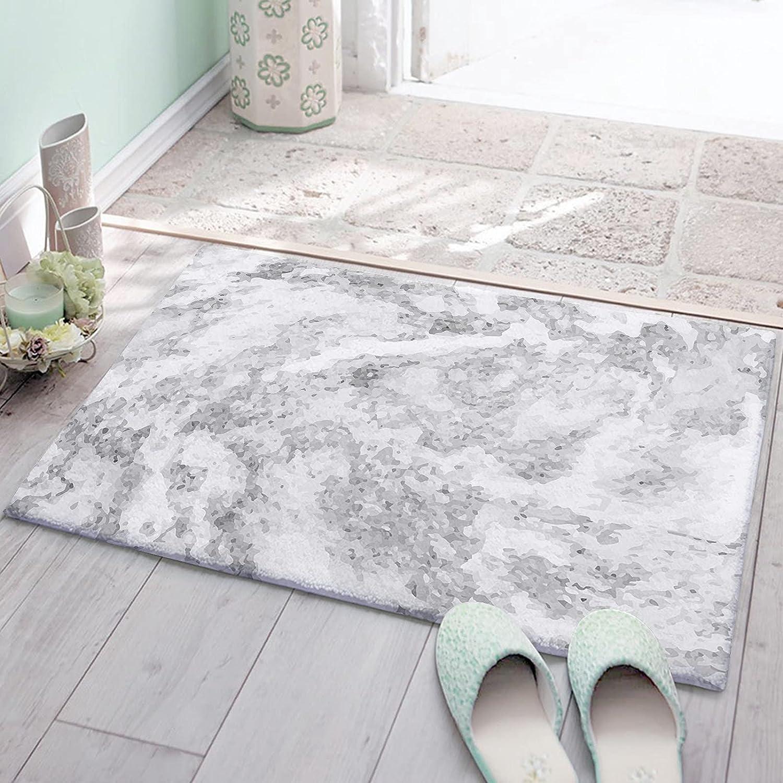 Ranking TOP1 OneHoney Fluffy Bathroom Mat Bath White Texture Regular discount Grey Rugs Marble