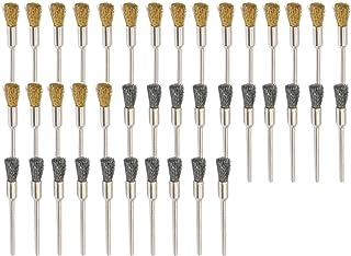 cnmade 3mm latón de acero limpieza alambre rueda cepillos pulido accesorios de sujeción para Dremel Grinder Rotary Herramientas 40pcs