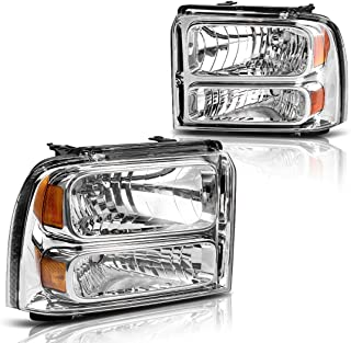 AUTOSAVER88 for 05 06 07 Ford F250 F350 F450 F550 Super Duty/ 05 Ford Excursion Headlight Assembly,OE Projector Headlamp,Chrome Housing Clear Lens