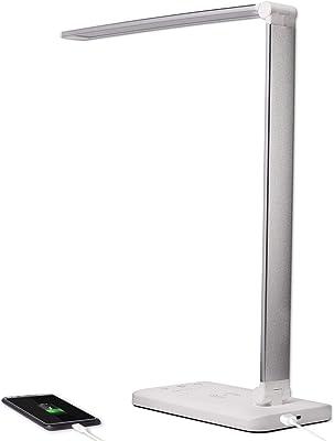 Lámpara de escritorio LED de color plateado y blanco, orientable y giratoria, táctil – Lámpara de mesa regulable con cambio de color para oficina y escritorio – con conexión USB