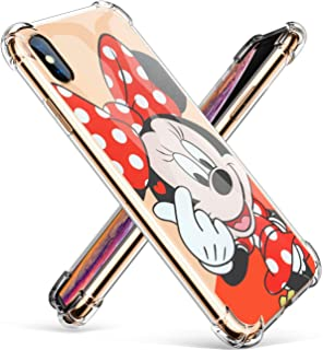 "Logee TPU Minnie Mouse Cute Cartoon Clear Case for iPhone Xs Max 6.5"",Fun Kawaii Animal Soft Protective Shockproof Cover,Ultra-Thin Funny Creative Character Unique Cases for Kids Teens Girls Boy(XSMax"