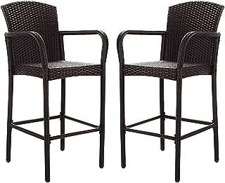 (NEW Patio & Garden Furniture) 2 PCS Rattan Wicker Bar Stool Dining High Counter Chair Patio Furniture Armrest