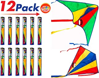 2CHILL Delta Kite Nylon Large in Bulk (Pack of 12) Plus 1 Bouncy Ball - Easy to Assemble, Launch, Fly - Premium Quality 9877-12p