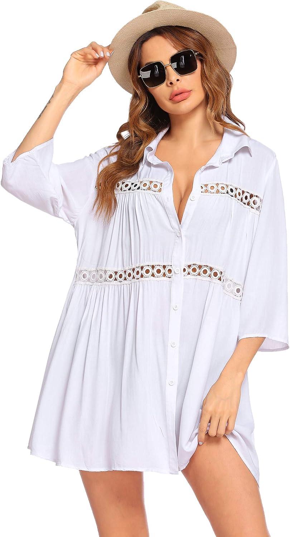 Hotouch Women's Swimwear Cover Ups Crochet Bikini Beachwear Button Down Shirts Bathing Suit Coverups S-XXL
