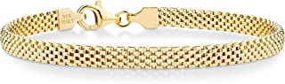 18K Gold Over Sterling Silver Italian 5mm Mesh Link Chain Bracelet for Women 6.5, 7, 7.5, 8 Inch 925 Made in Italy