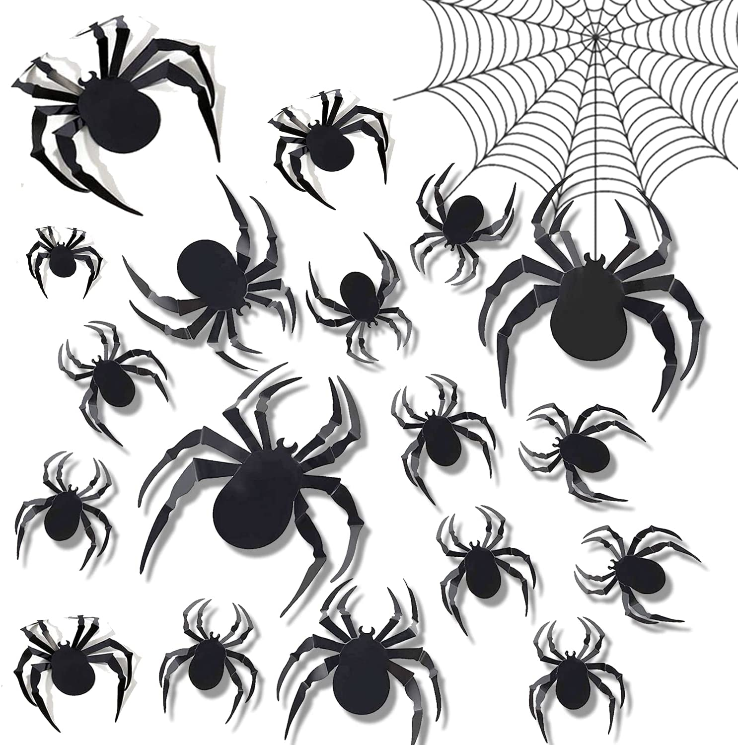 Halloween 3D Black Spider Wall Stickers DIY Spider Wall Clings Decals Decorations Scary Room Wall and Window Decor, Removable for Halloween Party Home Batman Bedroom Living Room Decoration Set