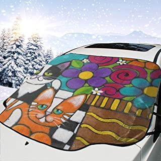 Hipster Cat Kitten Floral Car Windshield Snow Cover,Waterproof Frost Guard Winter Windshield Snow Ice Cover with Side Mirror Covers,Windproof Summer Windshield Sun Shade Fits Most Cars,SUVs,Minivans 5