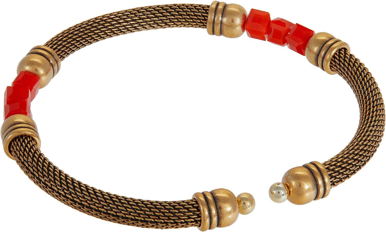 Alex and Ani Antique Americana Mesh Cuff Red Bracelet