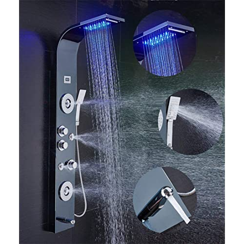 ELLO&ALLO Stainless Steel Shower Panel Tower System,LED Rainfall Waterfall Shower Head 6-Function