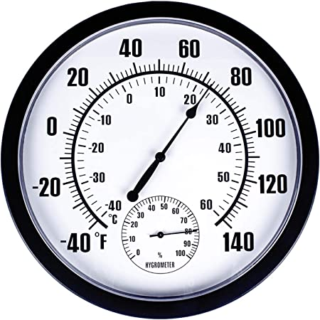 Humidity Outdoor/ Indoor Outdoor Thermometer Temperature Meter Hygrometer Humidity Clock-Shaped Home /& Garden Tools /& Home Improvement Christmas for Faclot