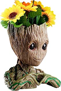 B-Best Guardians of The Galaxy Groot Pen Pot Newest Version Tree Man Pens Holder or Flower Pot with Drainage Hole Perfect for a Tiny Succulents Plants and Best Christmas Gift Idea 6