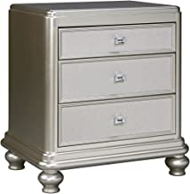 Ashley Furniture Signature Design - Coralayne Nightstand - Exquisite Hollywood Regency Flair Design - Silver