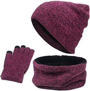 Rongbo 3 PCS Warm Knitted Set,Winter Beanie Hat,Circle Scarf,Touch Screen Gloves for Men Women Birthday