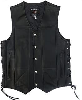 4Fit Men's Black Genuine Leather 10 Pockets Motorcycle Biker Vest S To 6XL (LARGE (CHEST 42