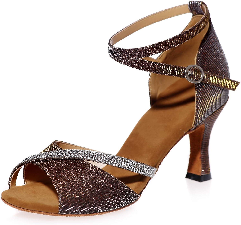 LLBubble Kitten Heels Ballroom Dance Shoes Women Open Toe Ankle Buckle Strap Latin Formal Party Dress Sandals 8349-03/A/B