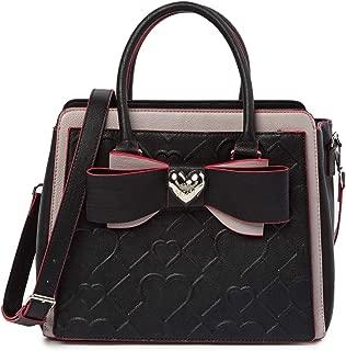 Betsey Johnson Double Bow Metallic Heart Charm Black Diamond Heart Quilted Handbag Shoulder Bag