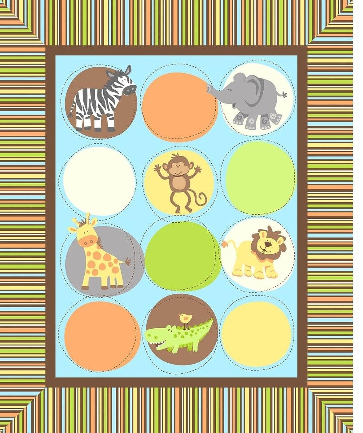 Springs Creative Products Group Safari Tots Nursery Blanket Kit, Multi-Colored