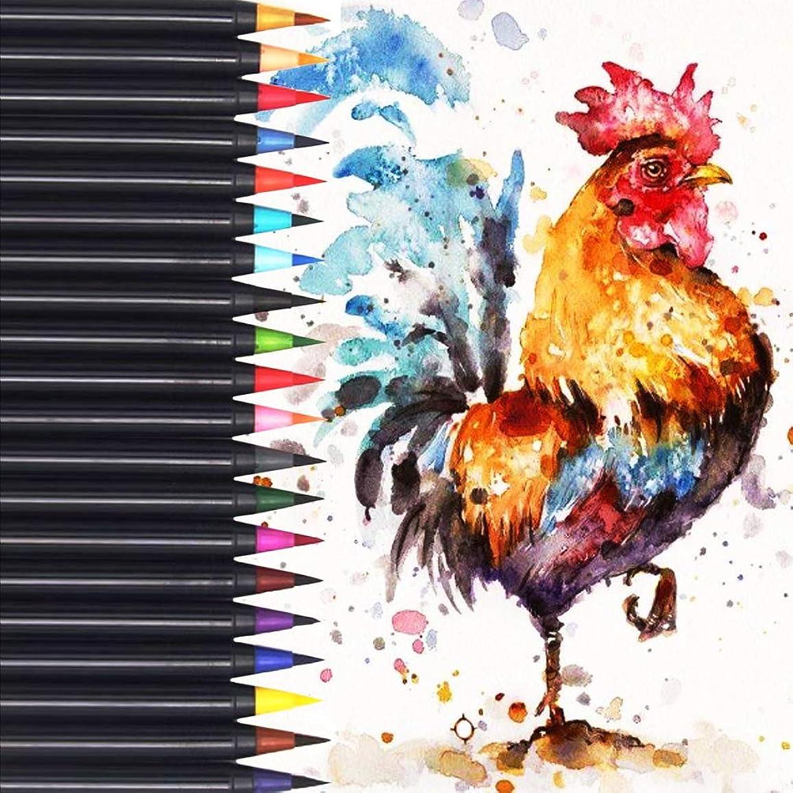 郵便リーン振る舞いEKKONG水彩毛筆 カラー筆ペン 20色セット 水性筆ペン 水彩ペン 絵描き 塗り絵 アートマーカー 美術用 事務用 画材 子供用画材 収納ケース付き (20 color)