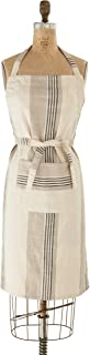 Creative Co-Op Taupe, Black & Cream Striped Cotton Woven Apron with Pocket Entertaining Textiles, Grey