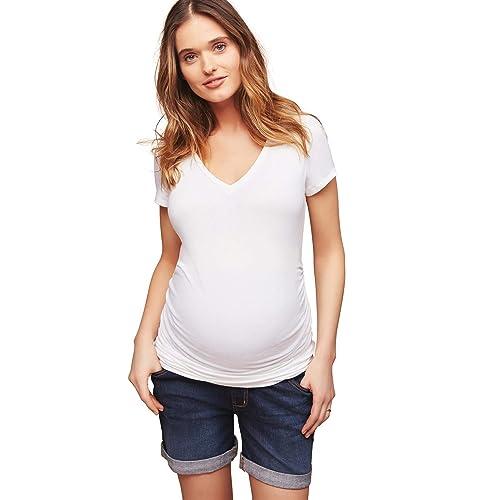736faeadbd0aa Motherhood Indigo Blue Secret Fit Belly Roll Hem Maternity Shorts