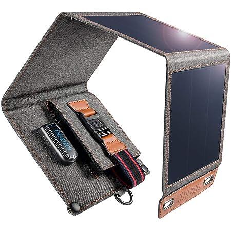 CHOETECH ソーラーチャージャー モバイルバッテリ14W ソーラーパネル 4枚搭載 折りたたみ式 軽量アウトドア 防水・防塵・耐衝撃 旅行、ハイキング、防災に大活躍 iPhone 11 / iPhone/Galaxy S8 / S7 / スマホ/タブレット/モバイルバッテリー などへ充電