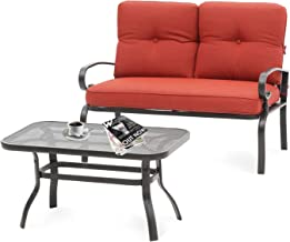 Oakmont Outdoor 2 Pcs Patio Loveseat Bench with Coffee Table Metal Furniture Set Sofa, Wrought Iron Look(Red)