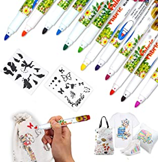 IMustech Fabric Markers Pens Permanent with 2 Free Random Stencils, 12 Colors Art Marker Paint Pen Set Child Safe & Non-To...