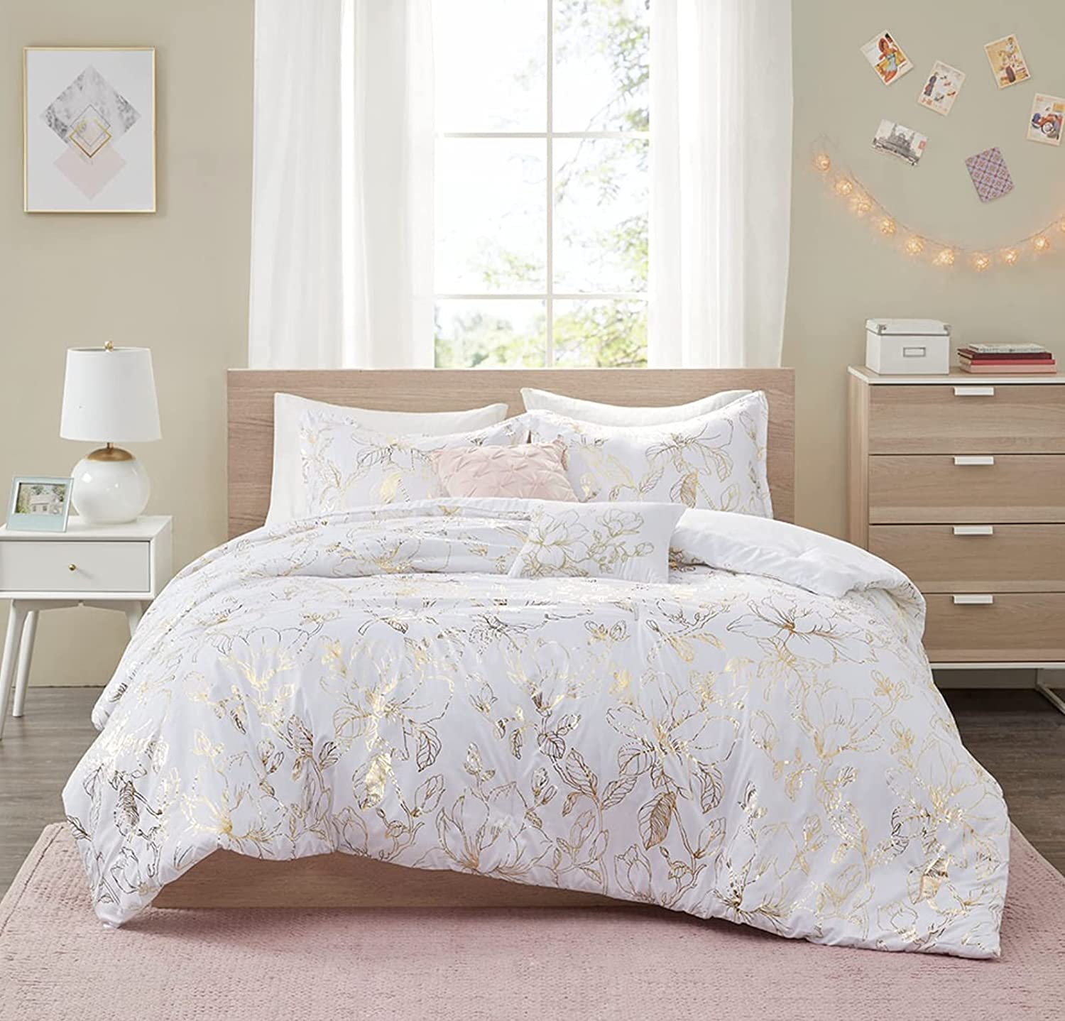 Metallic Printed Floral Full Import Queen Piece Set Comforter 70% OFF Outlet 5 +