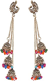 Pahal Traditional Layered Faux Pearl 3 Layer Bahubali Long Silver Jhumka Earrings Indian Chain Bollywood Wedding Jewelry for Women