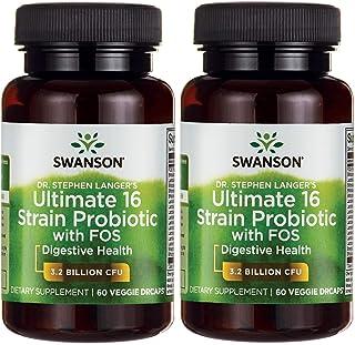 Swanson Probiotic with Prebiotic FOS Dr. Stephen Langer's Formula Digestive Support 16-Strain Supplement 3.2 Billion CFU 6...
