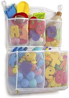Tenrai Mesh Bath Toy Organizer, 4 Ultra Strong Hooks, Bathtub Storage Bag, Multi-Purpose Baby Toys Net, Toddler Shower Cad...