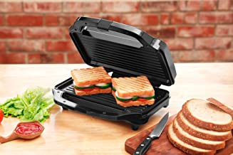 Clearline Non Stick Coated Jumbo Sandwich Grill/Toaster, Black-Silver