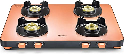 Prestige Edge Schott Glass 4 Burner Gas Stove, Pastel