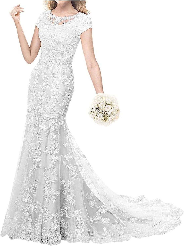 Weiterstar Women's Cap Sleeves Jewel Applique Lace Mermaid Vintage 2018 Wedding Dress