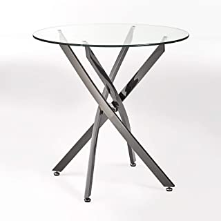 Christopher Knight Home King Contemporary Stainless Steel Bistro Dining Table With Tempered Glass Top, Black, Clear
