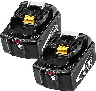 2 Pack BL1850B 18V 5,0 Ah Batteribyte för BL1850 BL1860 BL1860B BL1840 BL1830 BL1820 BL1815 BL1835 BL1845 LXT-400 med Ladd...