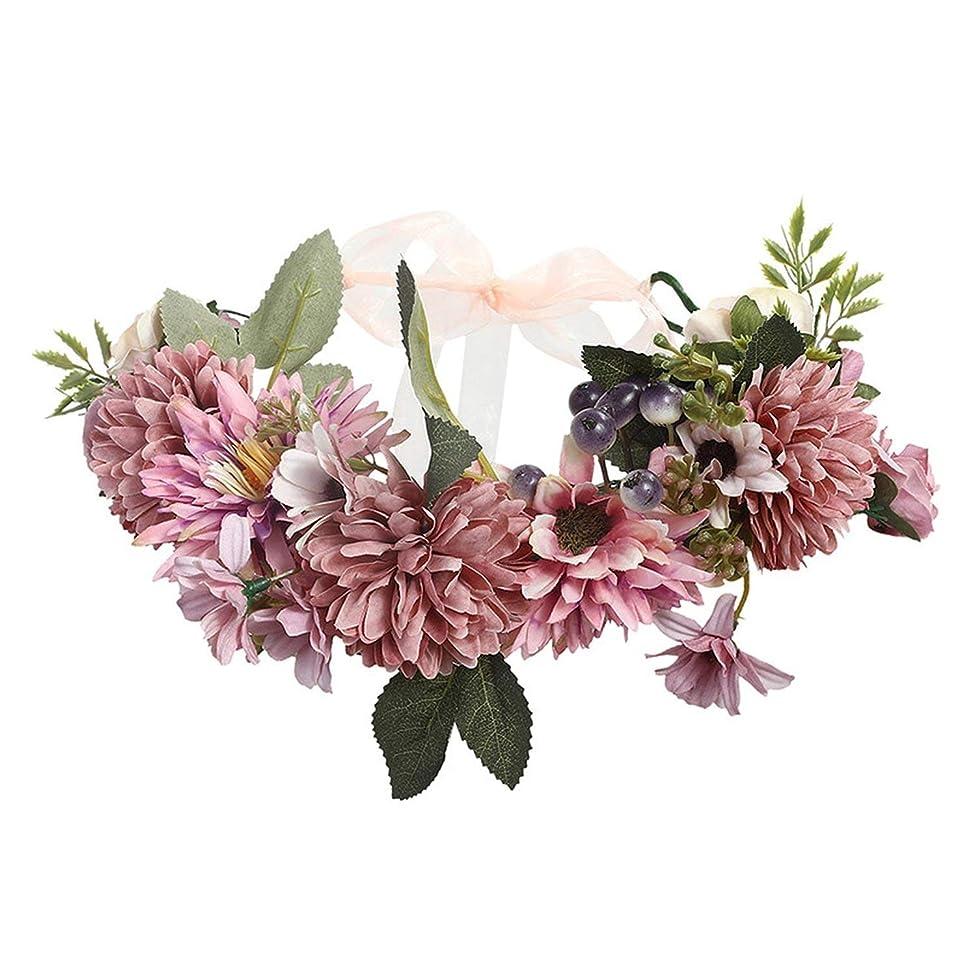 Women Wedding Floral Crown Head Band Floral Head Wreath Flower Headband Bridesmaid Bridal Garland Forehead Hair Band,10