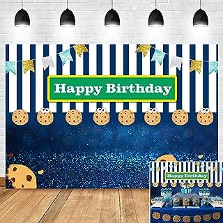 Blue White Stripe Bokeh Shining Spots Gold Glitter Flags Photo Booth Studio Props Photography Backdrop Cookies Carnival Fiesta Photo Background Kids Happy Birthday Vinyl 5x3ft Dessert Table Decor