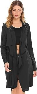 Women's Lightweight Lapel Draped Outwear Open Front Long Trench Coat Cardigan