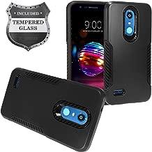 LG K30 LM-X410, Xpression Plus, Phoenix Plus X410AS, Harmony 2, CV3 Prime, Premier Pro LTE L413DL - Hybrid Phone Case + Tempered Glass Screen Protector - CF1 Black