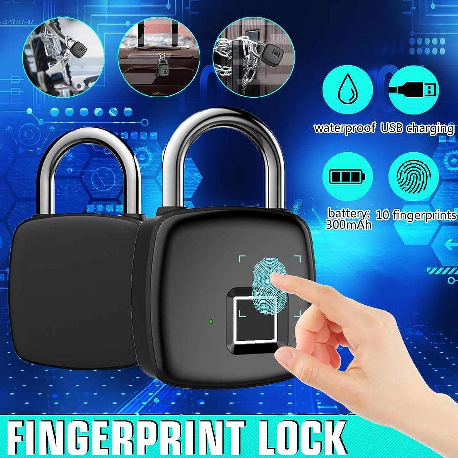 憂鬱カレッジベッドを作るFingerprint Padlock Keyless USB Rechargeable Door Luggage Case Security Lock Zinc alloy Metal Self Developing Chip P30
