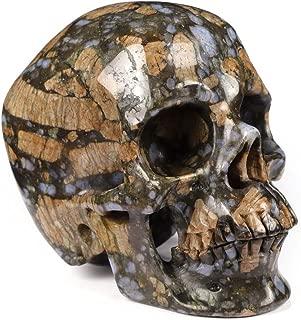 "Skullis 5.0"" Que Sera Stone Super Realistic Crystal Skull, Hand Carved Gemstone Fine Art Sculpture, Reiki Healing Stone Statue."