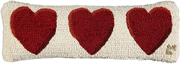 Chandler 4 Corners Three Hearts 8x24 Hooked Pillow