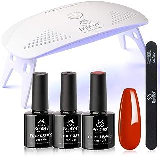 Beetles Red Gel Nail Polish Kit with UV LED Light and Base Gel Top Coat Starter Kit, Soak Off Popular Red Gel Polish Set w...