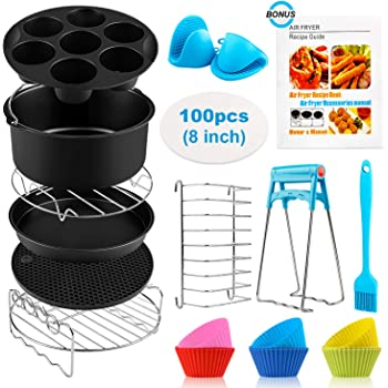 Deluxe Deep Fryer Accessories Set of 12-6.5 inch COSORI and Other Square AirFryers and Oven Square Air Fryer Accessories 11 pcs with Recipe Cookbook Compatible for Philips Air Fryer