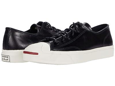 Converse Jack Purcell(r) Premium Leather (Black/Black/Egret) Shoes