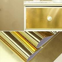 ورق لامع ذهبي لامع 17 بوصة × 118 بوصة من جليم ورق جدران ذهبي من الفولاذ المقاوم للصدأ قشر ولصق ذاتي اللصق مظهر معدني ورق ج...