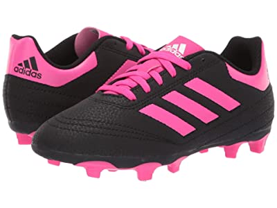 adidas Kids Goletto 6 Firm Ground Soccer (Little Kid/Big Kid) (Black/Shock Pink/White) Kids Shoes