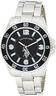 U.S. Polo Assn. Men's Silver-Toned Watch with a Black Dial, Automatic Quartz Metal/Alloy, Fold-Over-Clasp Watch - USC80515