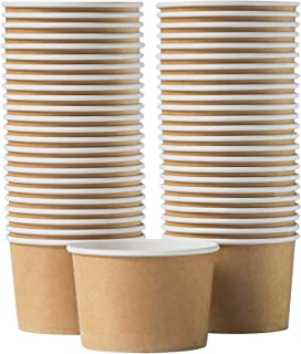 Paper Ice Cream Cups - 50-Count 16-Oz Disposable Dessert Bowls for Hot or Cold Food, 16-Ounce Party Supplies Treat Cups fo...